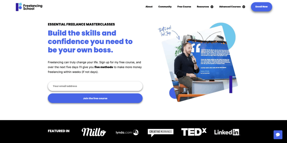 Freelancing School Homepage